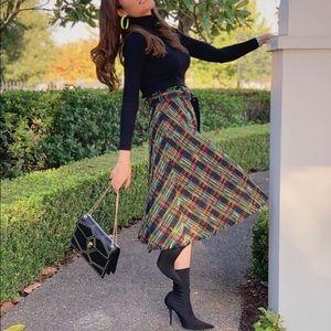 Zara Tweed Plaid Midi Skirt